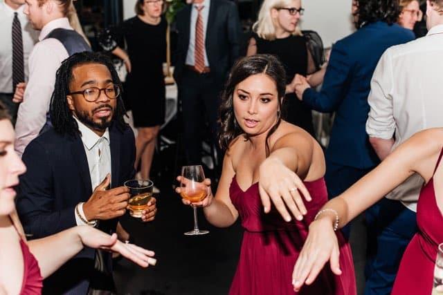 wedding dancing drinking DJ