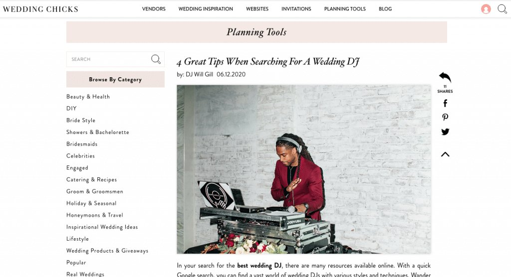 weddingchicks.com DJ article screenshot DJ will gill