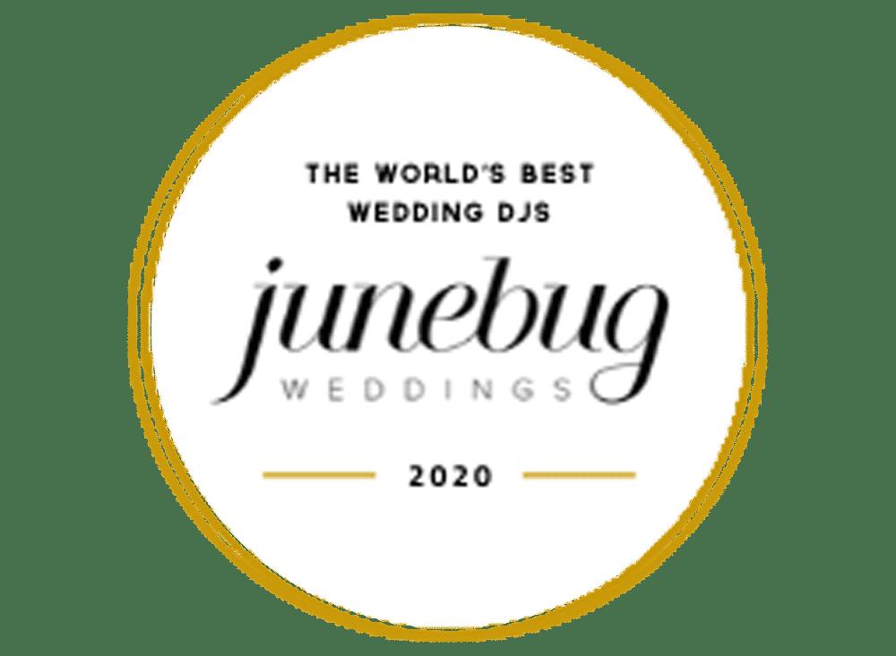 badge for junebugweddings worlds best wedding djs, featuring DJ Will Gill.